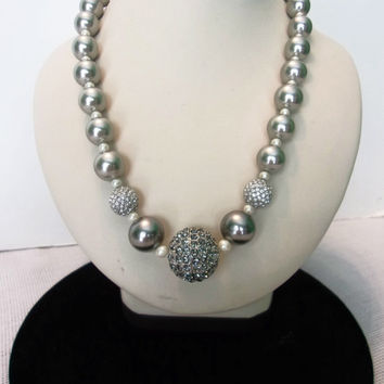 Carolee Gray & Cream Pearl Necklace Glass Rhinestone