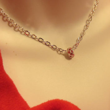 Minimalist Necklace with Red and Silver Rhinestone Bead