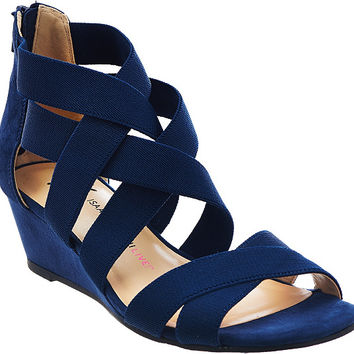 """As Is"" Isaac Mizrahi Live! Stretch Crossover Low Wedge Sandals — QVC.com"