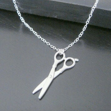 Double-Sided Sterling Silver Small Scissors Necklace Birthday Christmas Gift Modern Jewelry Everyday Simple Necklace Hairstylist Necklace