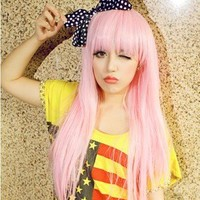 Girl women lady pink anime long full wig wigs Heat resistant hair fiber Cosplay