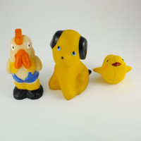 Dog, Rooster and Bird, Yellow ,Orange, Blue Rubber Toy, Soviet Vintage, 1970's, Soviet Toy, CCCP