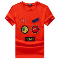 Fendi Summer new men and women short-sleeved t-shirt casual top Red