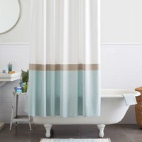 Horizon Stripe Shower Curtain - Clearwater