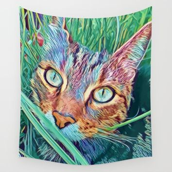 Pop Cat in the green grass Wall Tapestry by Emmanuel Signorino