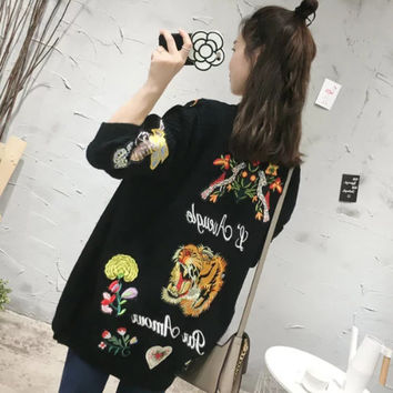 Embroidery Floral Alphabet Animal Stylish Knit Slim Sweater Jacket [8511503943]