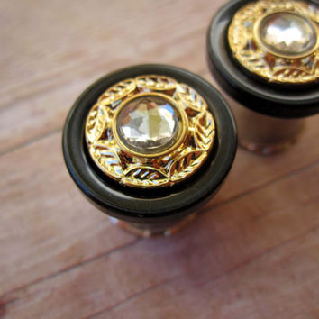 "Pair of Black, Gold, and Rhinestone Button Plugs - Handmade Girly Gauges - Formal  - Bridal - 7/16"", 1/2"", 9/16"", 5/8"", 3/4"""
