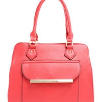 Embossed To Stand Out Red Fornt Pocket Satchel Purse