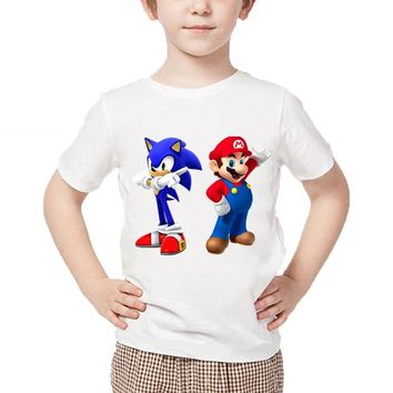 Cartoon Children Mario Sonic The Hedgehog Round Neck T-Shirt Funny Children Clothes Boys Girls Casual Summer Tops
