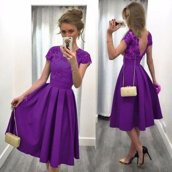 Women sexy backless party pleated dress Robe purple blue black red green Women short sleeve patchwork swing skater dress