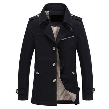 ca qiyif Men Jacket Coat Long Section Fashion Trench Coat