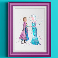 Disney Anna Elsa Watercolor Home Print