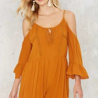 Golden Summer Cold Shoulder Romper
