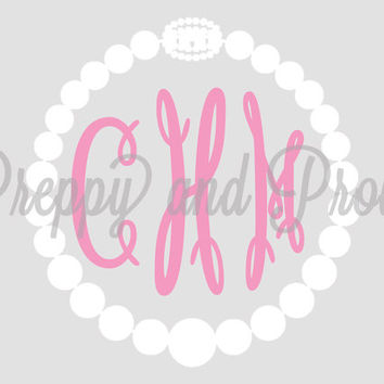 Monogram Sticker Personalized Pearl Necklace Decal