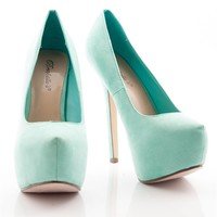 Dance Hall Days Faux Suede Platform Pump - Seafoam