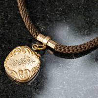 Victorian Mourning Jewelry Gold Hair Locket Watch Chain Fob