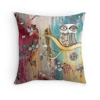 Art Throw Pillow 'Surreal Owl I'