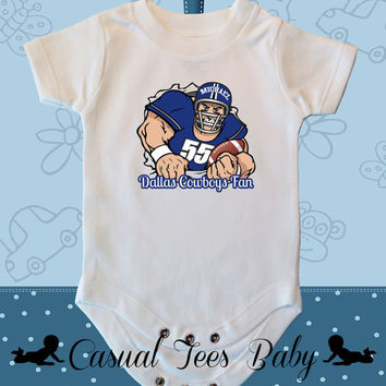 Dallas Cowboy Fan Personalized  Football Baby Bodysuit for the Baby or Toddler Tee
