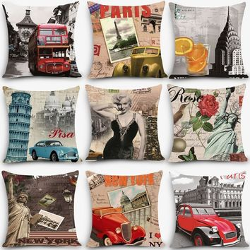 Hot sale cheap cushion scenic Paris Print Home Decorative Throw Pillow Vintage style Fine Cotton Linen Square Pillowcase MYJ-C5