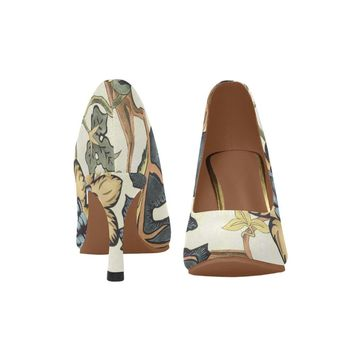 Women floral high heel shoes