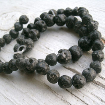 Lava Rock Beads - graduating beads about 6mm to 10mm, black-grey volcanic rock beads, natural beads, bead supply, unique beads, quality