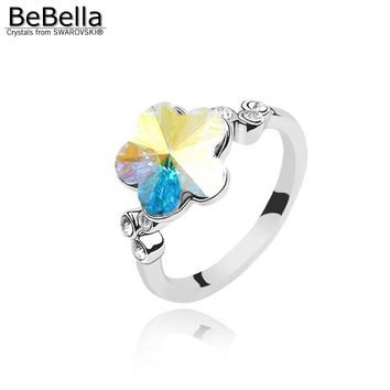 BeBella plum flower crystal ring wedding jewelry made with Austrian crystals from Swarovski color size optional for women's gift