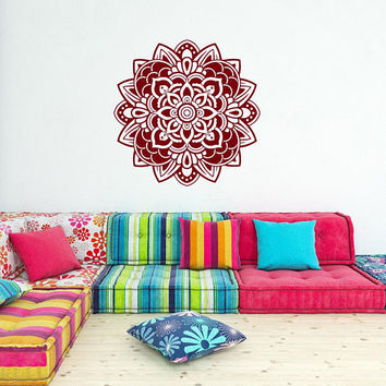 Mandala Wall Decal Vinyl Sticker Yoga Decor, Yoga Studio Bohemian Boho Bedroom Mandala Wall Art, Mandala Window Decal Home Decor #003