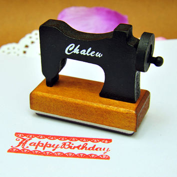 Wooden Sewing Machine Stamp Wood Happy Birthday Stamps for Photo Album Scrapbooking Kids Favors Creative Gift Free shipping 640