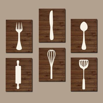 KITCHEN Utensils Wall Art, Fork Knife Spoon CANVAS or Prints Decor, House Warming Gift Set of 6 Home Decor Wall Decor Wall Decor