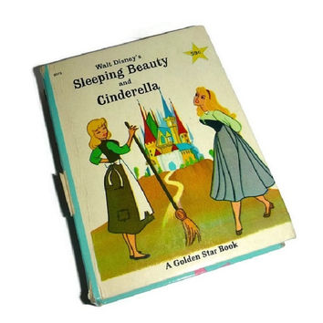 Vintage Disney Cinderella & Sleeping Beauty Little Big Book 60's Walt Disney Cartoon Childrens Fairy Tale Classic Story Book by Golden Star