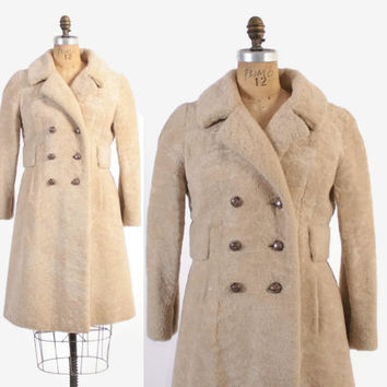Vintage 60s SHEARLING Coat / 1960s Thick Warm Genuine Ivory Shearling Wool Fur Coat S