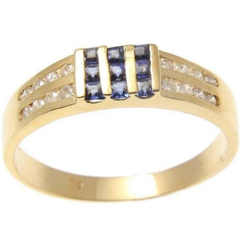 GENUINE PRINCESS CUT SAPPHIRE & DIAMOND RING SOLID 14K YELLOW GOLD