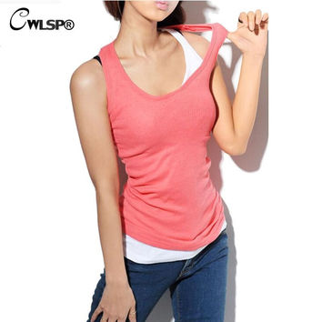CWLSP 2017 Summer Women Tank tops Cotton camis o-neck tight-fitting thread vest women Cheap camisole Camis  17 colors