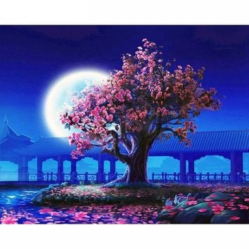 "DIY Painting by Numbers Canvas Painting Set - ""Cherry Blossoms by Moonlight"""