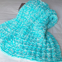 Chunky Hand Knit Baby Blanket, Aqua Toddler Afghan, Ready To Ship, Lap Throw, Waffle Texture, Machine Washable, Newborn Gift Boy Girl