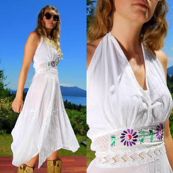 Mexican Embroidered Dress Lace Halter Dress 70's Hippie Dress White Cotton Embroidery, Boho White Maxi Dress, Bohemian Gypsy Scarf Skirt