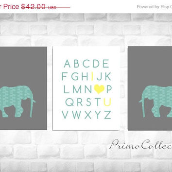 Elephant Nursery Art Prints / set of 3 / safari animals / ABC's / 8x10 inch / teal and gray / baby boy's room decor
