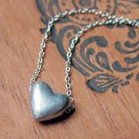 Small silver heart necklace - tiny puffed heart - gift - soft matte finish - heart slider necklace