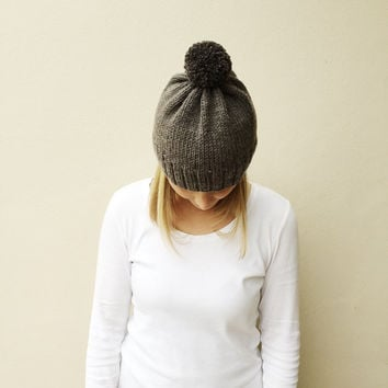 Gray Knit Hat with Pom Pom, Fall Winter hat, Natural Neutral hat, Rustic Warm Hand Knit Hat, Bobble hat, Made by VeraJayne, Ready to Ship