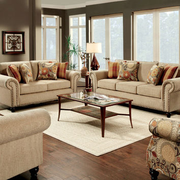 Furniture of america SM8110 2 pc rollins tan textured fabric sofa and love seat set