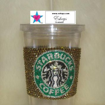 Custom Starbucks Rhinestone Cold Cup with Straw 16oz