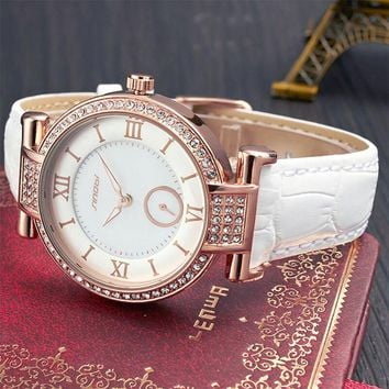 SINOBI Fashion Womens Wrist Watches For Top Luxury Brand Female Leather Watchband Golden Ladies Quartz Clock de Vrouwen Horloges