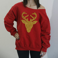 Glitter deer head slouchy sweatshirt. Oversize Christmas sweatshirt. Gold Glitter Holiday sweater. Ugly Christmas Sweater.