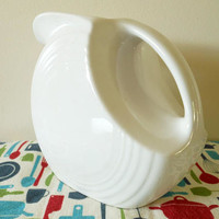 White Fiesta Disc Pitcher, Fiestaware Water Pitcher, White Fiesta Pitcher