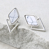 Endless Bliss Silver and White Earrings