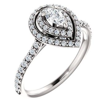 0.25 Ct Pear Halo-styled Diamond Engagement Ring 14k White Gold