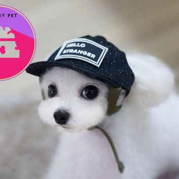 New pet clothing accessories Dog Hat With Ear Holes Summer Canvas Baseball Cap For Small Pet Dog Outdoor Accessories  -10 Styles