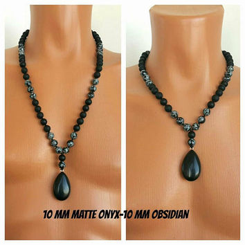 MEN'S NECKLACE,Matte Onyx-Obsidian Necklace, Necklace for Men,Men's Jewelry,Men's Beaded Necklace,Men's Beaded,Long Necklace,10 mm Beads