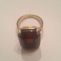 Vintage Avon Amethyst Purple Glass Emeral Cut Stone Ring Costume Jewelry