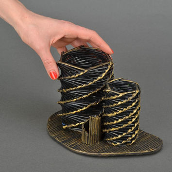 Handmade newspaper basket woven of paper rod for hair combs storage decor ideas